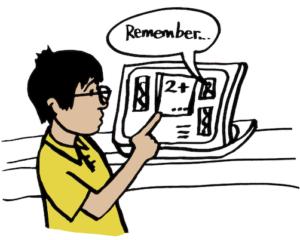 Illustration of boy at computer