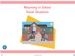 Image of two children going into school - illustration