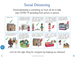 Illustration of how to social distance for children