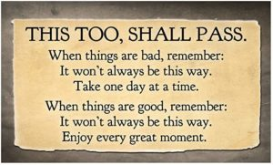 Text saying this too shall pass