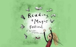 Book cover for Reading is magic with girl on green background
