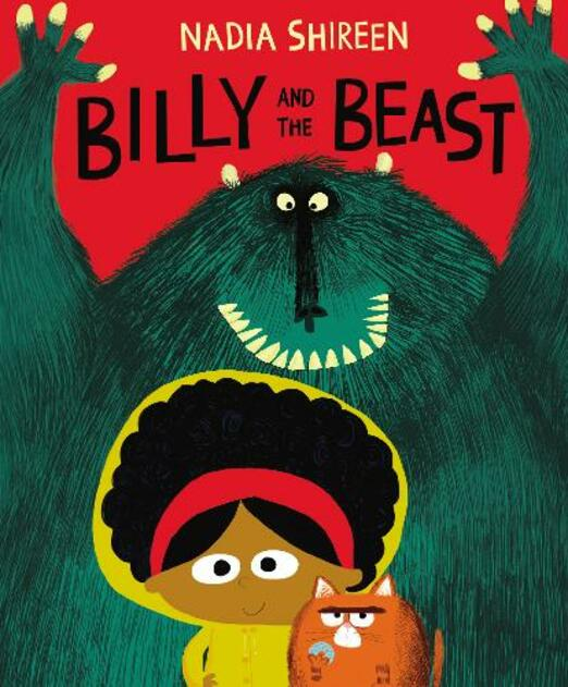 Cover of Billy and the Beast - girl with red hair band and afro with cat and figure in background