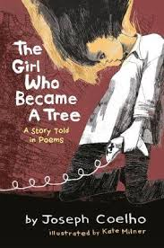 Illustrated cover of The Girl who became a tree - child looking down
