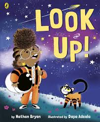 Cover of Look Up - girl wit afro and plaits and a cat looking up at space