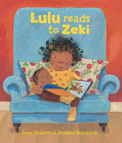 Cover of Lulu reads to Zeki - child reading to baby on a sofa
