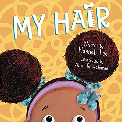 Cover of my hair - top of girls head with two afro puffs showing