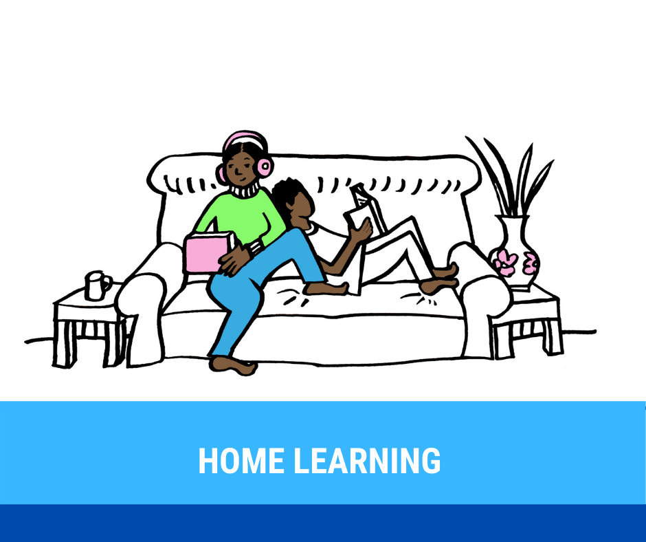 Illustration of two young people on the sofa with devices