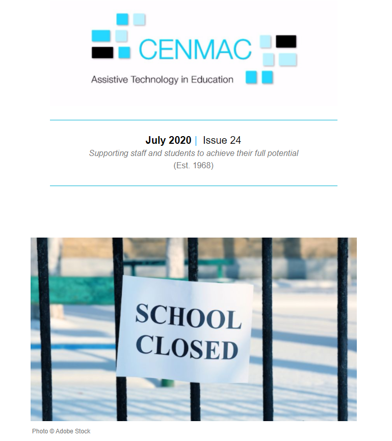 Cover of newsletter with sign School Closed