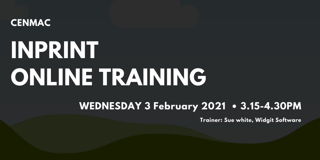 Black graphic with text Inprint Online training