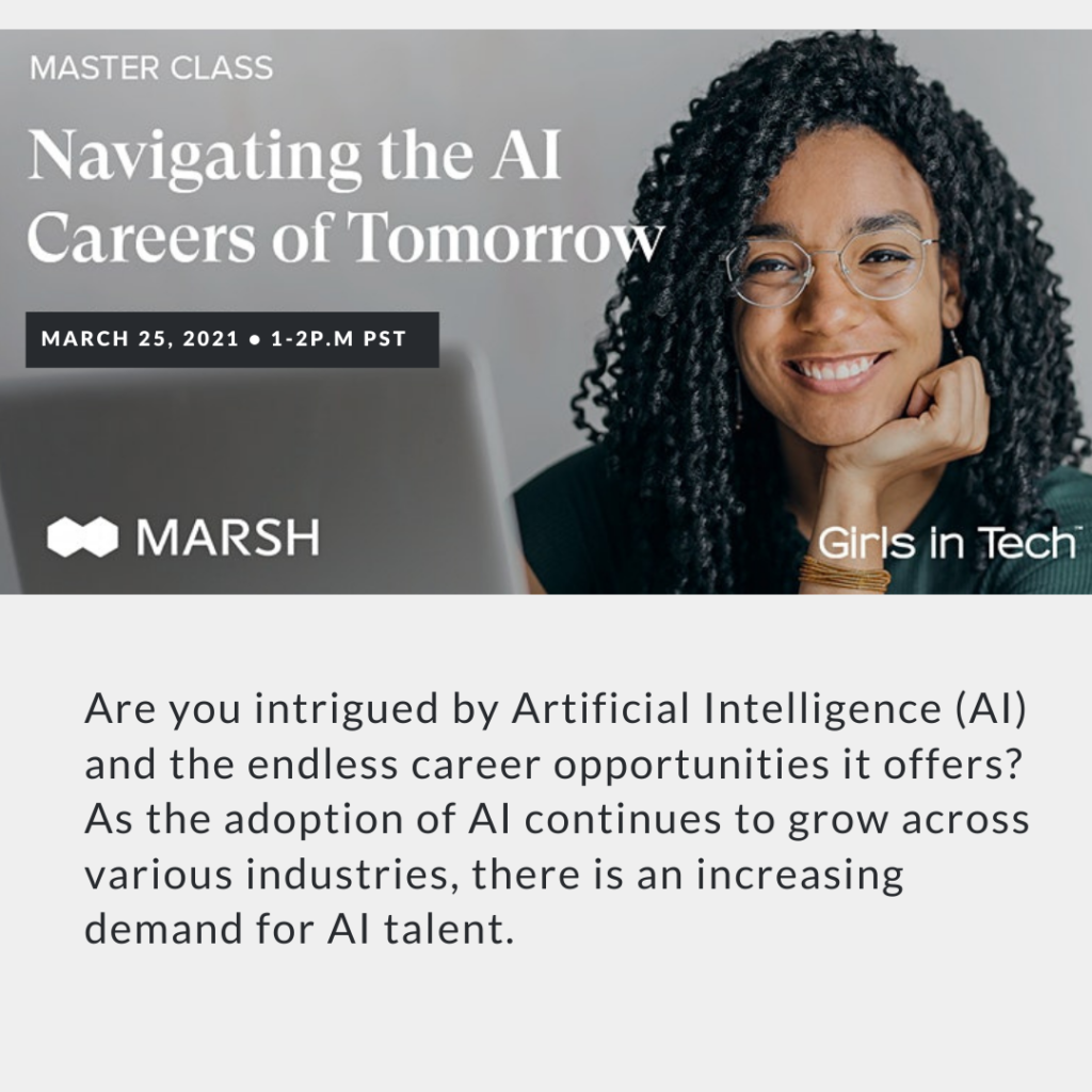 Woman at computer with text AI careers
