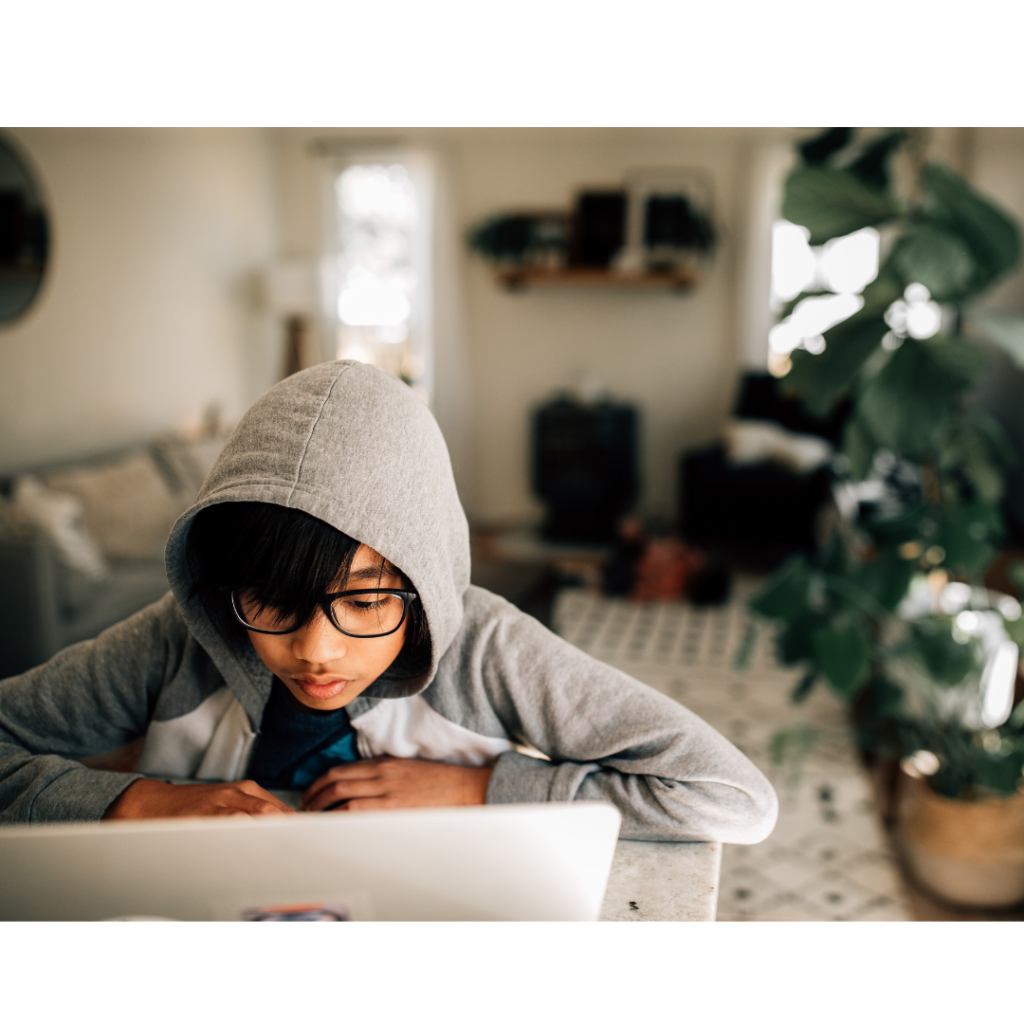 Boy in hooded top looking at the laptop