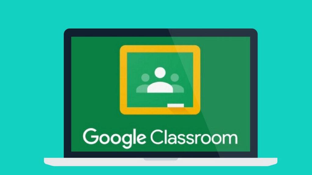 symbol of google classroom - illustration of laptop with text google classroom